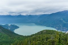 Scenic view of Howe sound from the sea to sky gondola in Squamish , British Columbia. Royalty Free Stock Photos
