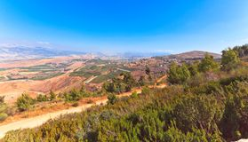Scenic view on Hula Valley, North Israel. Mountain landscape . Scenic view on Hula Valley, North Israel . Summer Royalty Free Stock Images