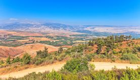 Scenic view on Hula Valley, North Israel. Mountain landscape . Scenic view on Hula Valley, North Israel . Summer Stock Images