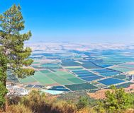 Scenic view on Hula Valley, North Israel. Mountain landscape . Scenic view on Hula Valley, North Israel . Summer Stock Image