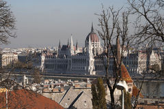 Scenic view of the Hungarian Parliament. In autumn Stock Photos