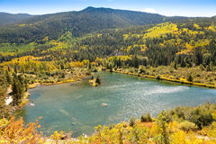 Scenic View from Independence Pass. Scenic Pond and Aspen in the Autumn from the Independence Pass in Colorado royalty free stock photography