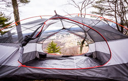 Scenic View From Inside Tent. View looking out at a scenic mountain from inside a tent Stock Photo