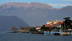 Scenic view of Iseo alpine lake stock images