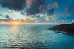 Scenic view of island during sunset Stock Photo
