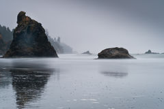 Scenic view of islands with fog in Ruby Beach royalty free stock photography