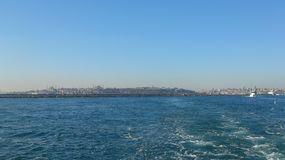 Scenic view of istanbul from steamboat on sea Royalty Free Stock Photo