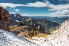 Scenic view of Italian Alps. Scenic view of Italian Dolomites and lake Mitteralplsee Stock Photos