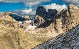 Scenic view of Italian. Dolomites on cloudy autumn day Stock Images