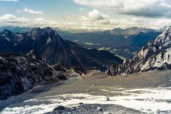 Scenic view of Italian Alps. Scenic view of Italian Dolomites and lake Mitteralplsee Royalty Free Stock Photo