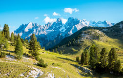 Scenic view of Italian Dolomites mountains. Scenic view of Italian Dolomites on sunny autumn day Stock Photography