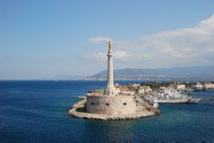 Scenic view of the Italian port of Messina. Gold Madonna. Scenic view of the Italian port of Messina Sicilia Royalty Free Stock Images