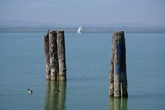 Scenic view of italian Trasimeno lake stock photo