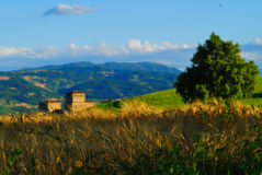 Scenic view in Italy. A scenic view of a home and hills near Torrachiara, Parma, Italy stock images