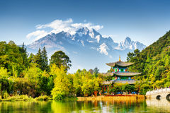Scenic view of the Jade Dragon Snow Mountain, China Royalty Free Stock Images