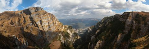 Scenic view of Jepi Mari,Bucegi Mountains. Panorama view of Jepi Mari, Bucegi Mountains,Busteni city Royalty Free Stock Photos
