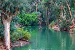 Jordan river. The place where Jesus was baptized. Scenic view of Jordan river, the place where Jesus Christ was baptized Stock Images