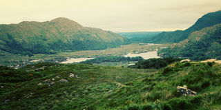 A scenic view of a Kerry Mountains and surrounding areas in Country Kerry. Royalty Free Stock Photography