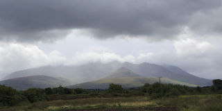Scenic view of Kerry Mountains in thunderclouds Royalty Free Stock Image
