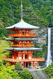 Scenic View of the Kumano Nachi Taisha and the Nachi Waterfall Stock Image