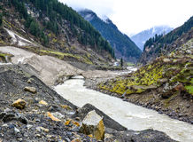 Scenic view of Kunhar river & mountains in Naran Kaghan Valley, Pakistan Royalty Free Stock Images