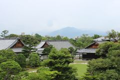 A scenic view of Kyoto, Japan, on a cloudy day royalty free stock photo