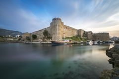 Scenic view of Kyrenia old castle. At sunset. Ancient castle is one of the main attractions of Cyprus royalty free stock photos