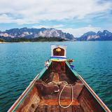 Scenic view of lake against limestone mountain. Scenic view lake against limestone mountain tourism traveling relaxing thailand park boat boating vehicle stock images