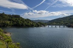 Scenic view of the lake at the Canicada Dam at the Peneda Geres National Park. In Portugal, Europe royalty free stock photo