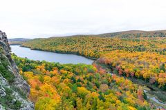 Scenic view of Lake of the Clouds in Porcupine Wilderness State Park royalty free stock photography