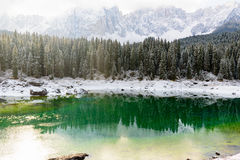 Scenic view of lake karersee stock images