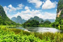 Scenic view of lake among karst towers at Ninh Binh, Vietnam Royalty Free Stock Photos