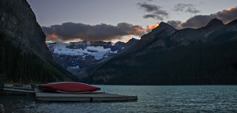 Scenic View of Lake Louise Stock Photos