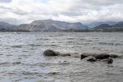 Scenic view of lake and mountain on Ullswater in Lake District of England, UK.  stock photo