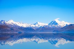 Scenic view of Lake Pukaki and Mt Cook with reflection, New Zealand Royalty Free Stock Image