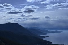 Scenic view of Lake Tahoe. Scenic view of east shoreline of Lake Tahoe viewed from Mount Rose highway at twilight, California and Nevada, U.S.A Stock Photo