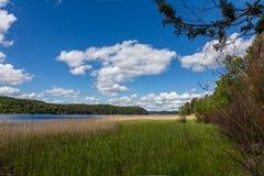 Scenic view of Lake Tulmozero under a blue sky with clouds, Karelia. Russia stock photos