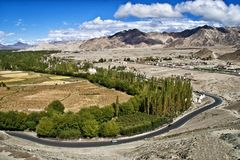 A scenic view of the landscape in Ladakh, India Royalty Free Stock Image