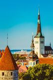 Scenic View Landscape Old City Town Tallinn, Estonia Royalty Free Stock Photography