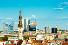 Scenic View Landscape Old City Town Tallinn In Estonia Stock Photography