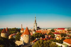 Scenic View Landscape Old City Town Tallinn In Estonia Royalty Free Stock Images