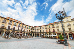 Scenic view of Leon Major square. Leon, Spain. Stock Photography