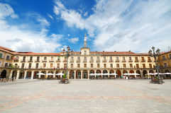 Scenic view of Leon Major square. Leon, Spain. Royalty Free Stock Photos