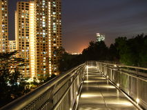 Scenic view of lighted walkway stock photo