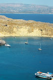 Scenic view of Lindos bay at Rhodes island Royalty Free Stock Photography