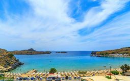 Scenic view of Lindos bay at Rhodes island. Greece Royalty Free Stock Image