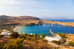 Scenic view of Lindos bay at the Rhodes island. Greece Royalty Free Stock Photography