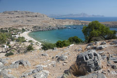 Scenic view from Lindos,Rhodes Royalty Free Stock Images