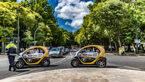Scenic view of Lisbon& x27;s. avenida de liberate date 20 may 2019. With two tourist car moving carrying tourist exploring lisbon. Adventure auto automobile stock photo