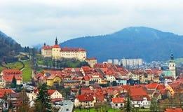 Scenic View of of the Loka Castle in Škofja Loka. The City of Škofja Loka and the Loka Castle in Winter Stock Photo